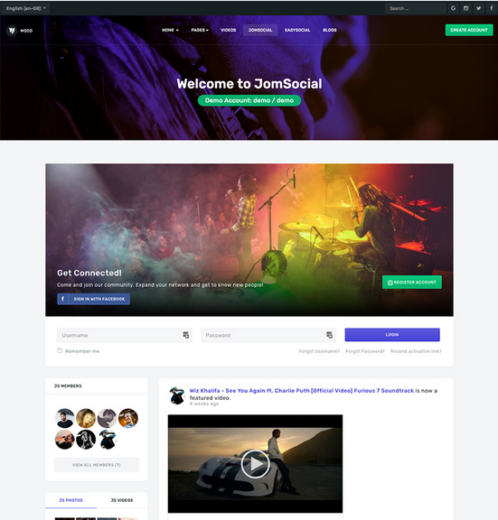 JA Mood - Stunning music, community and social Joomla template fully supports Jomsocial with customized style.