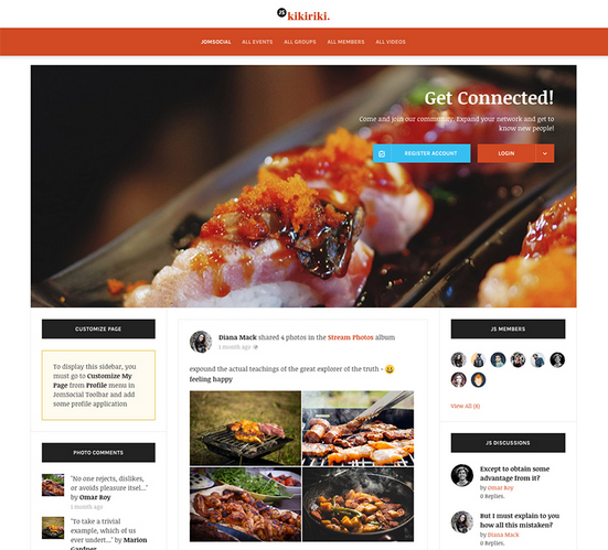 Introducing new theme for JomSocial - JS Kikiriki. This Theme gives you an other look and feel for your JomSocial website.