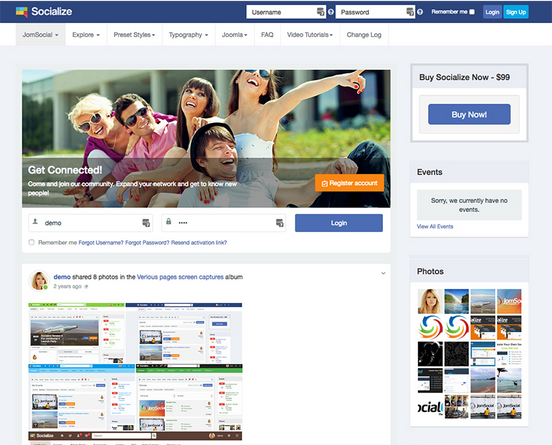 Beautiful JomSocial template - Socialize is updated.