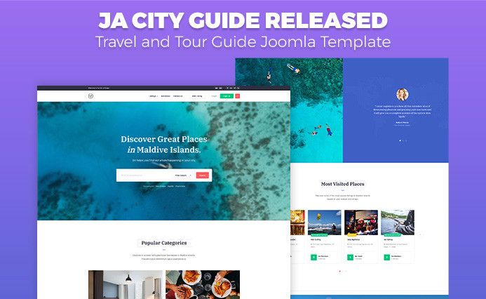 Preview of travel and tour guide Joomla template - JA City Guide